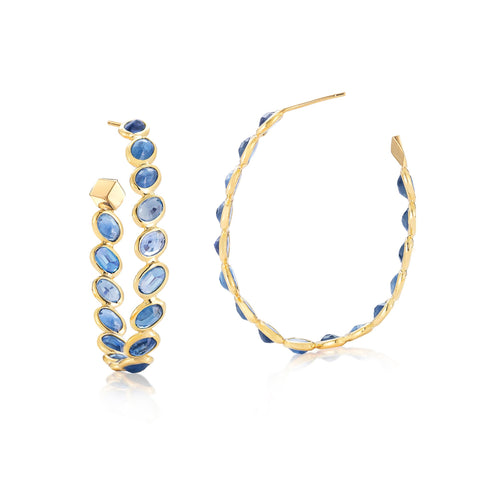 Blue Sapphire Ombre Hoop Earrings