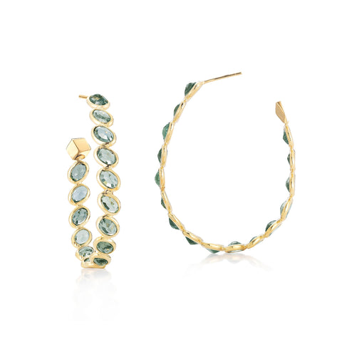 18kt Green Sapphire Ombre Hoop Earrings, Grande - Paolo Costagli