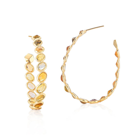 yellow gold orange Hoop Earrings