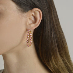 18kt Pink Sapphire Ombre Hoop Earrings, Grande - Paolo Costagli