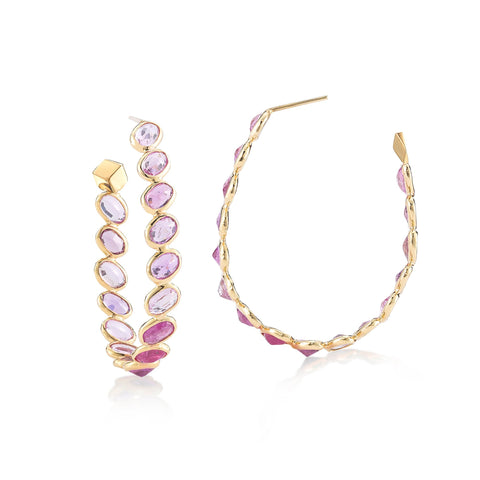 yellow gold pink hoop earrings