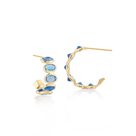 18kt Yellow Gold Blue Sapphire Hoop Earrings - Paolo Costagli