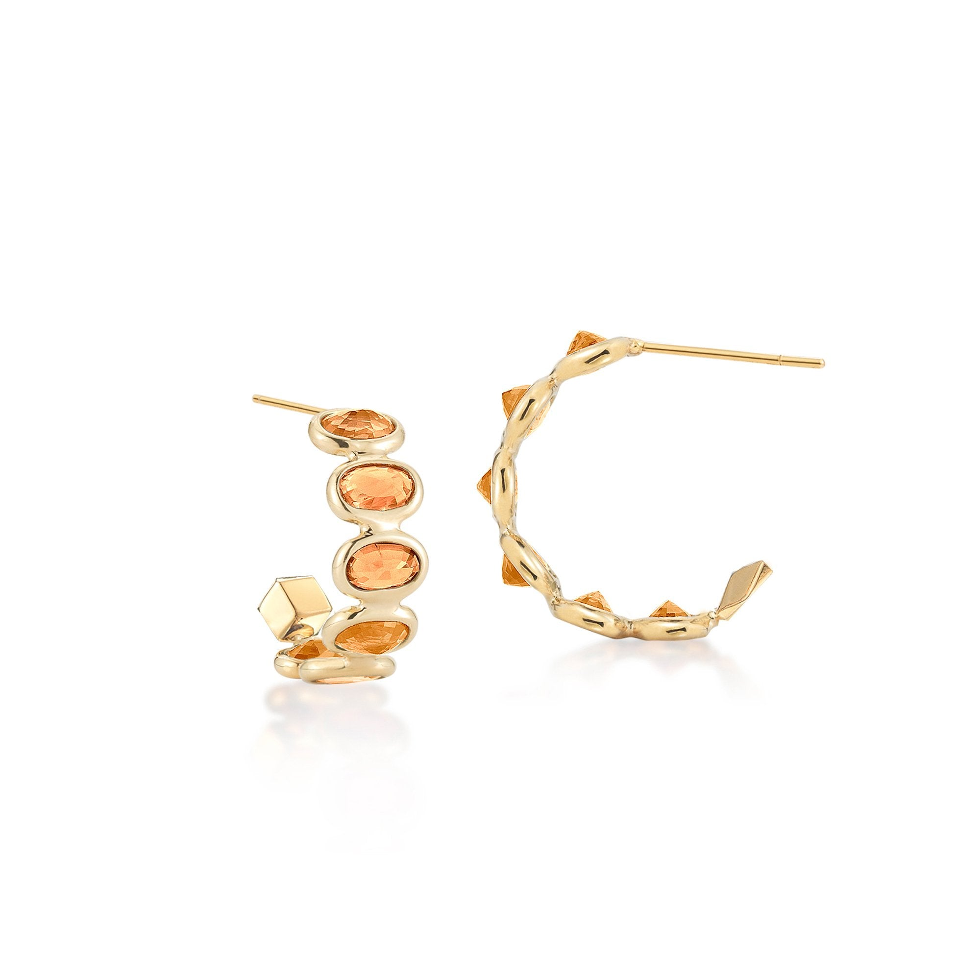 Orange Sapphire 'Ombre' Hoop Earrings, Petite - Paolo Costagli - 1