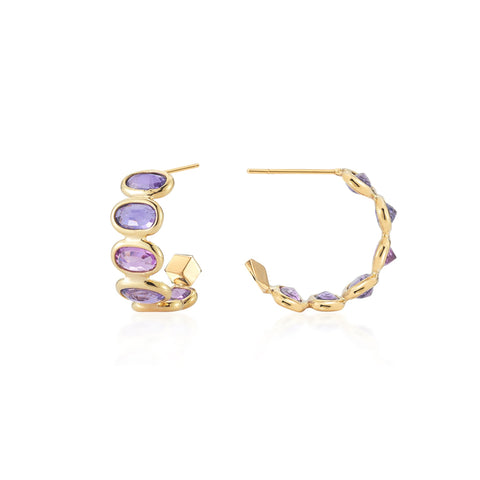 Purple Sapphire Ombre Hoop Earrings, Petite - Paolo Costagli