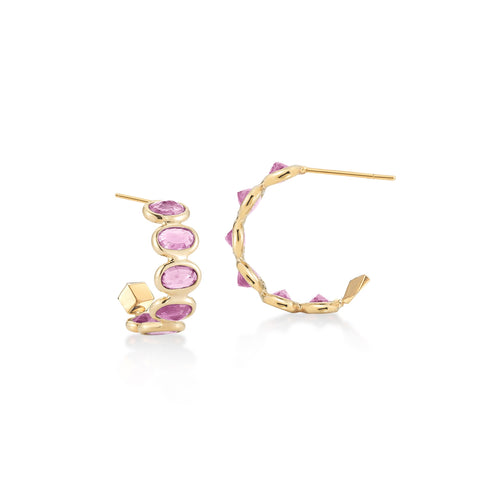 18kt Pink Sapphire Ombre Hoop Earrings - Paolo Costagli