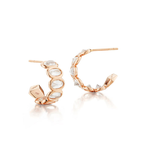 18kt Rose Gold White Sapphire Hoop Earrings - Paolo Costagli
