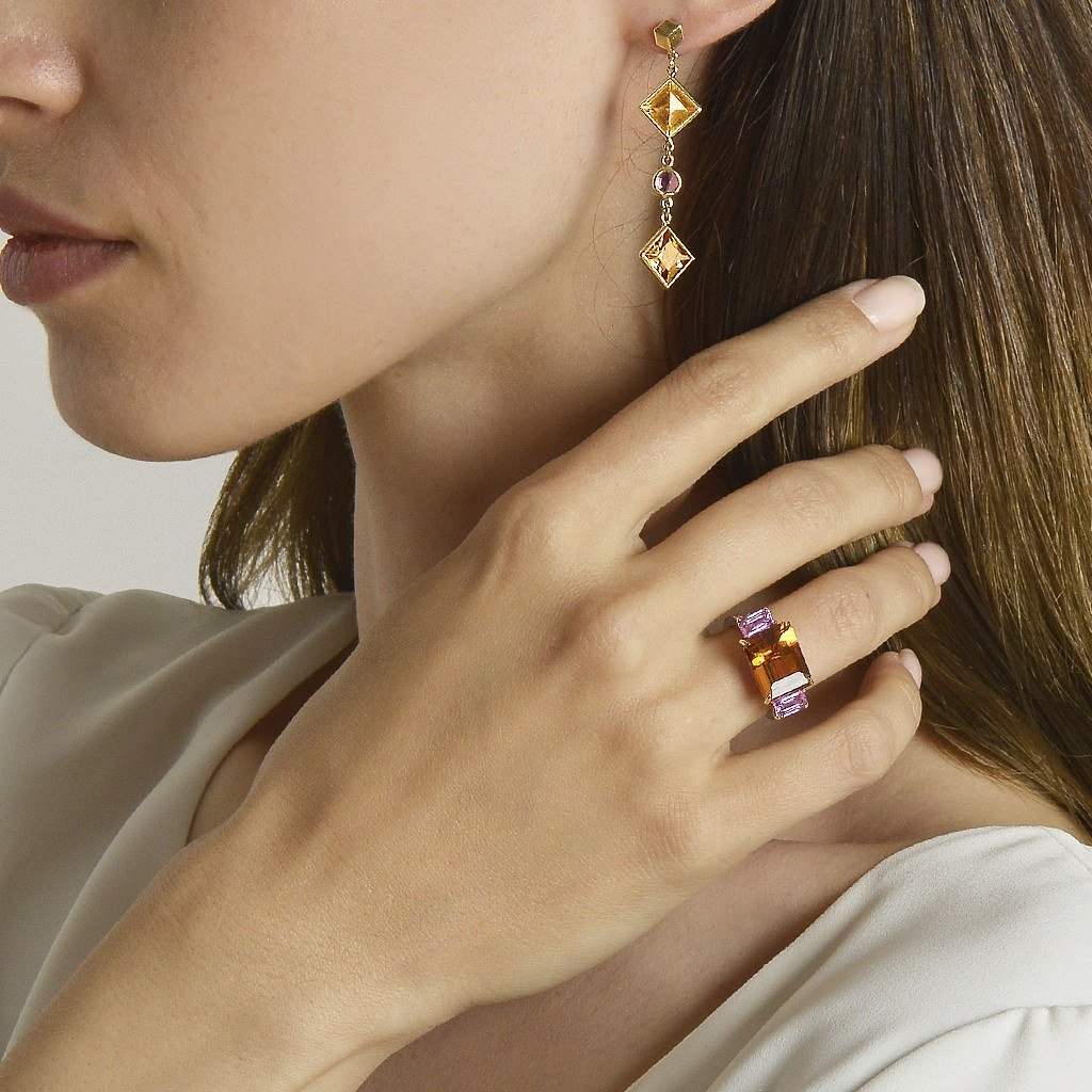 Citrine and Pink Sapphire 'Florentine' Earrings - Paolo Costagli - 2