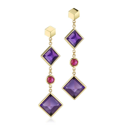 Amethyst and Ruby Florentine Earrings - Paolo Costagli