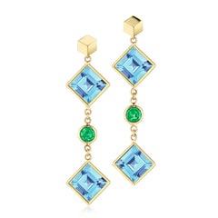 Blue Topaz and Tsavorite Florentine Earrings - Paolo Costagli