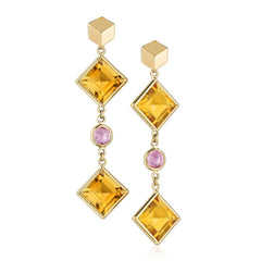 Citrine and Pink Sapphire Florentine Earrings - Paolo Costagli