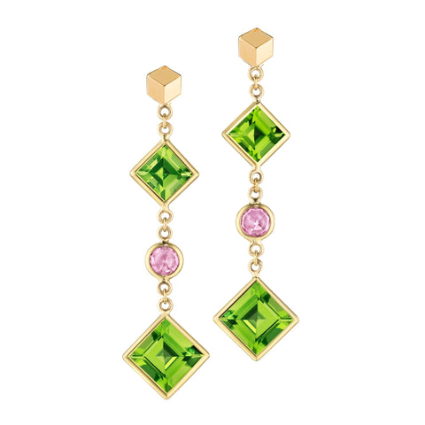 Peridot and Pink Sapphire Florentine Earrings - Paolo Costagli