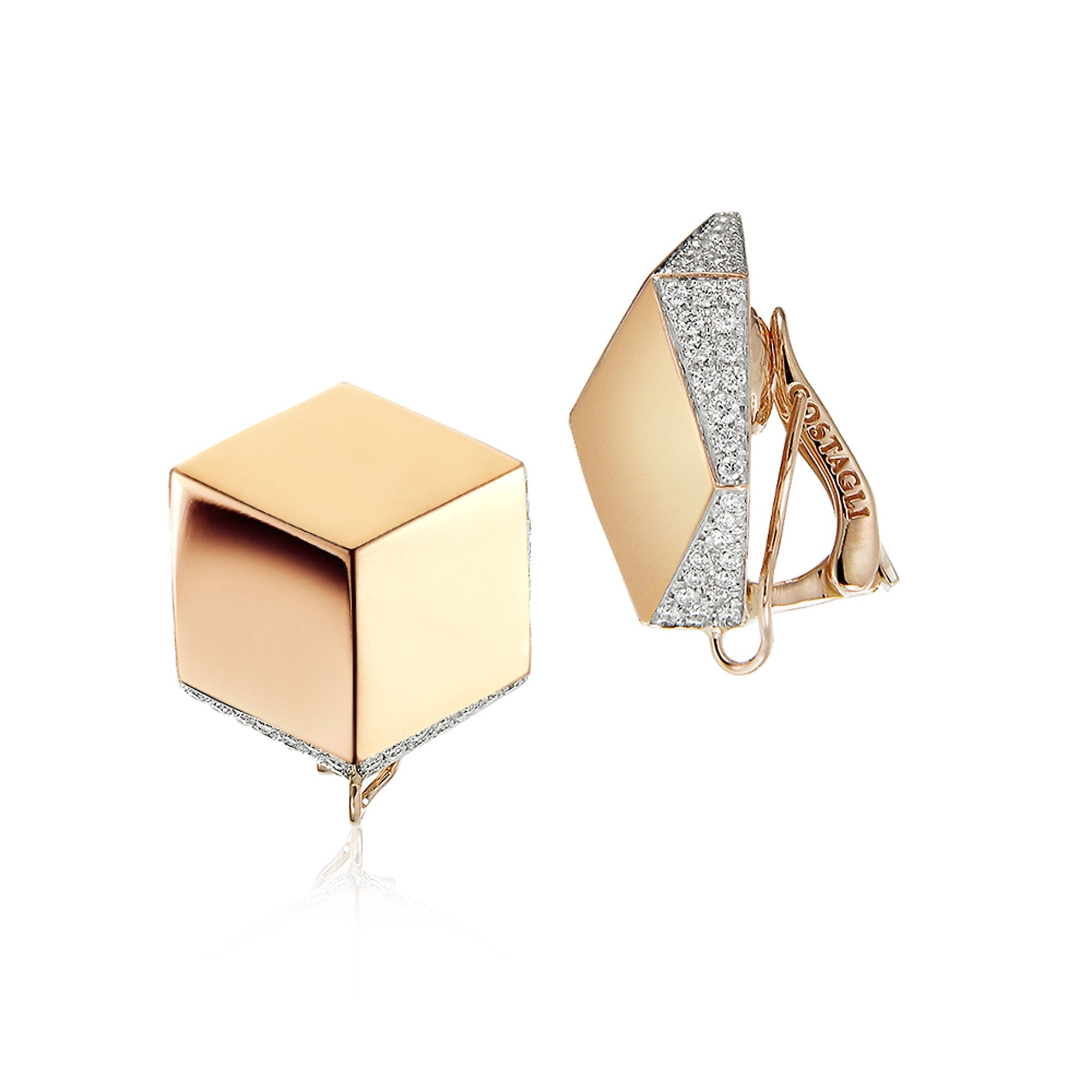 Rose Gold and Diamond 'Brillante®' Clip Earrings - Paolo Costagli - 1