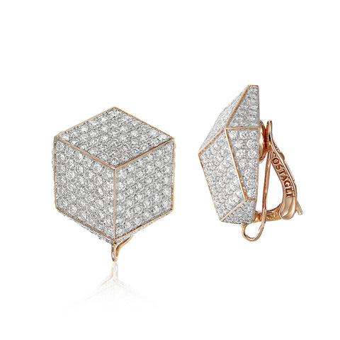 18kt Rose Gold and Pave Diamonds Brillante® Clip Earrings - Paolo Costagli