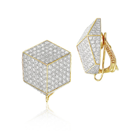 18kt Yellow Gold and Pave Diamonds Brillante® Clip Earrings - Paolo Costagli