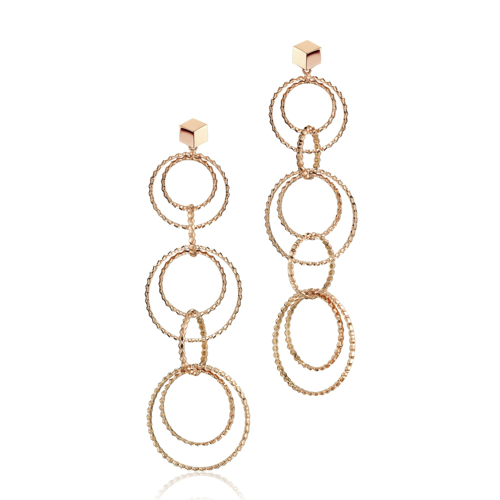 Rose Gold 'Brillante® Circoli' Earrings, Long - Paolo Costagli - 1