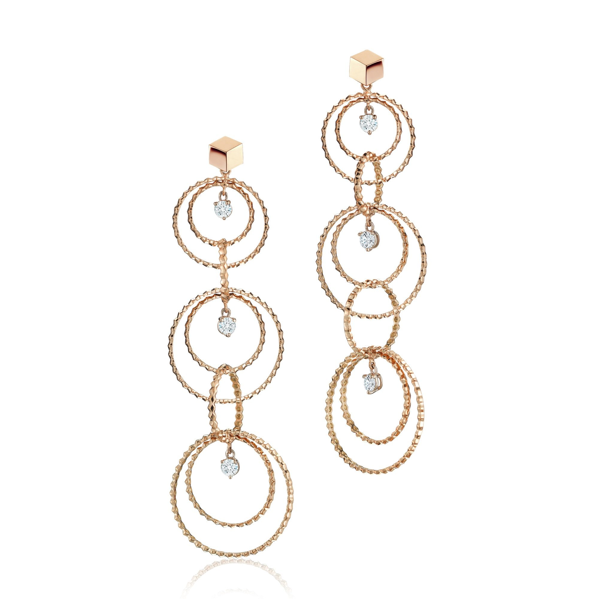 Rose Gold and Diamond 'Brillante® Circoli' Earrings, Long - Paolo Costagli - 1