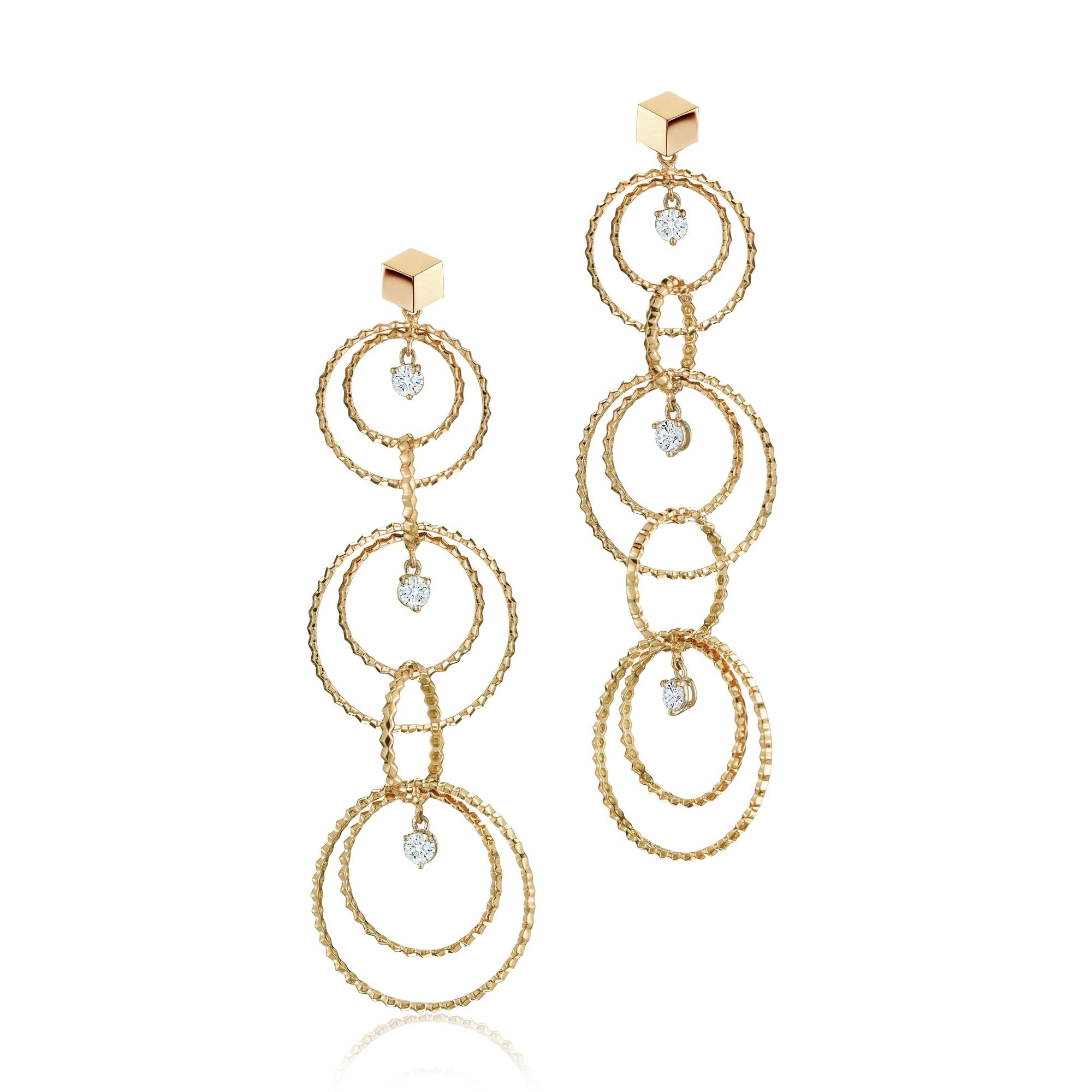Yellow Gold and Diamond 'Brillante® Circoli' Earrings, Long - Paolo Costagli - 1