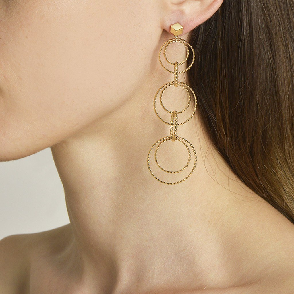 Yellow Gold 'Brillante® Circoli' Earrings, Long - Paolo Costagli - 2