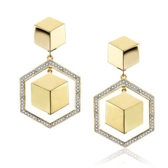 18kt Yellow Gold and Diamond Frame Brillante® Earrings - Paolo Costagli