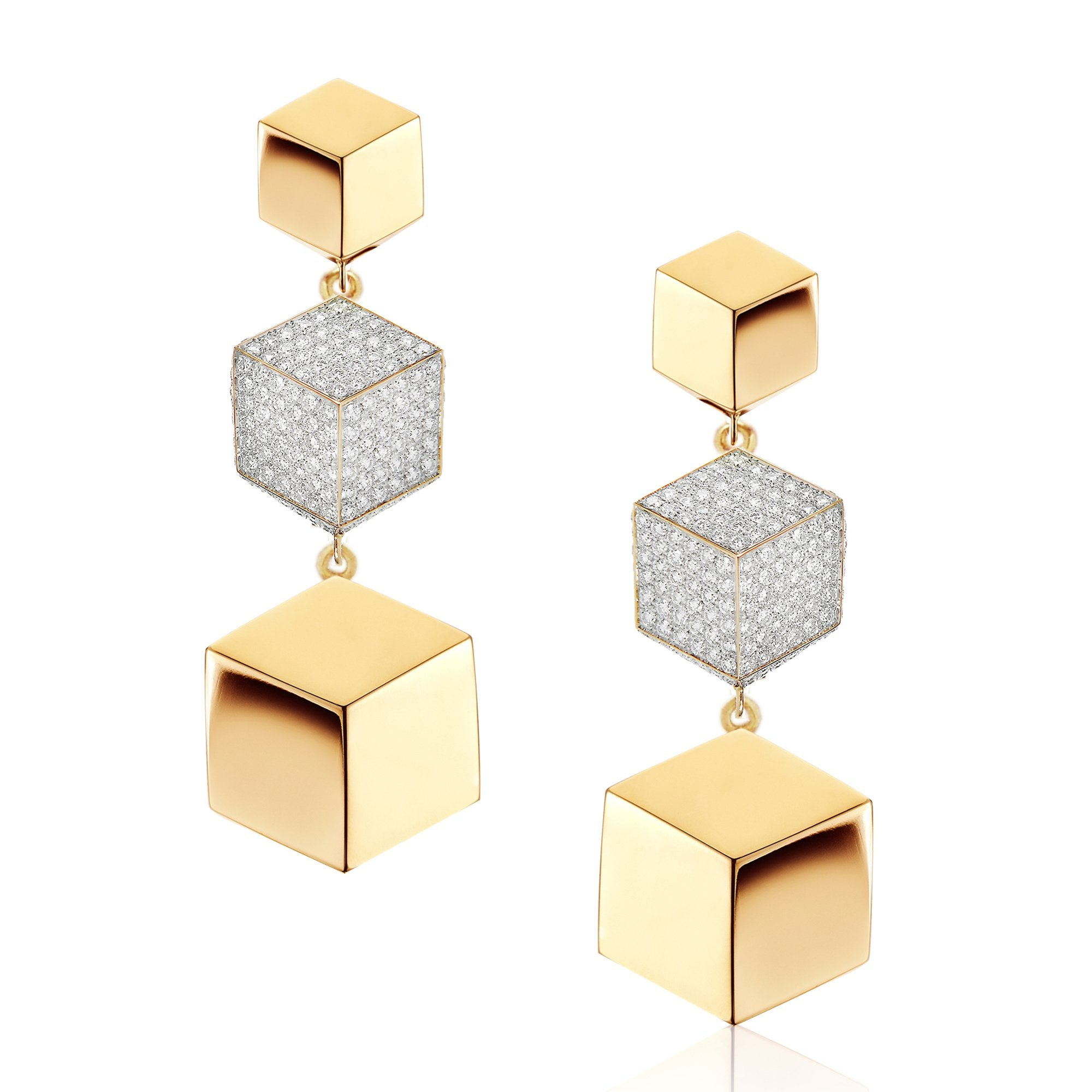18kt Yellow Gold and Diamond Brillante Drop Earrings - Paolo Costagli