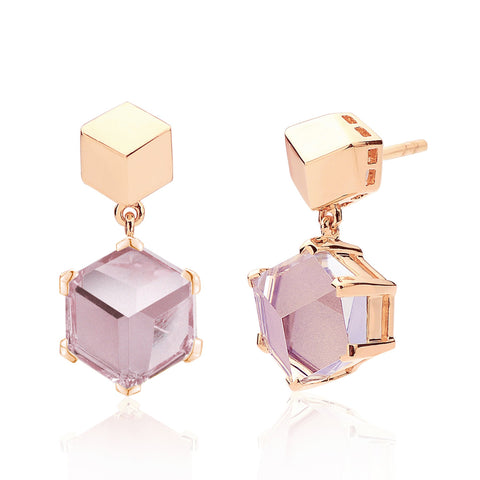 Rose Gold Amethyst Brillante® Valentina Earrings, dolce