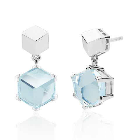 White Gold Blue Topaz Brillante® Valentina Earrings, dolce