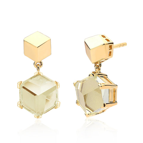 Yellow Gold Green Amethyst Brillante® Valentina Earrings, dolce