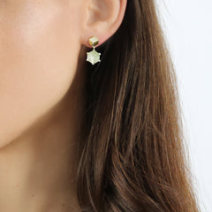 18kt Yellow Gold Green Amethyst Brillante® Valentina Earrings, dolce