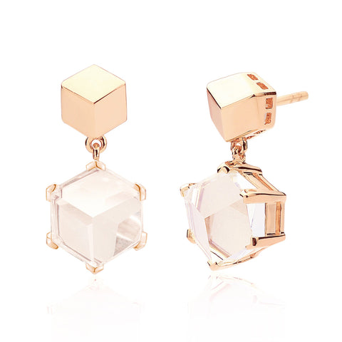 18kt Rose Gold White Topaz Brillante® Valentina Earrings, dolce - Paolo Costagli