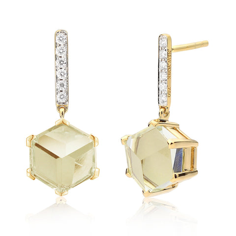 18kt Yellow Gold Green Amethyst Brillante® Valentina Earrings with Diamonds, dolce - Paolo Costagli