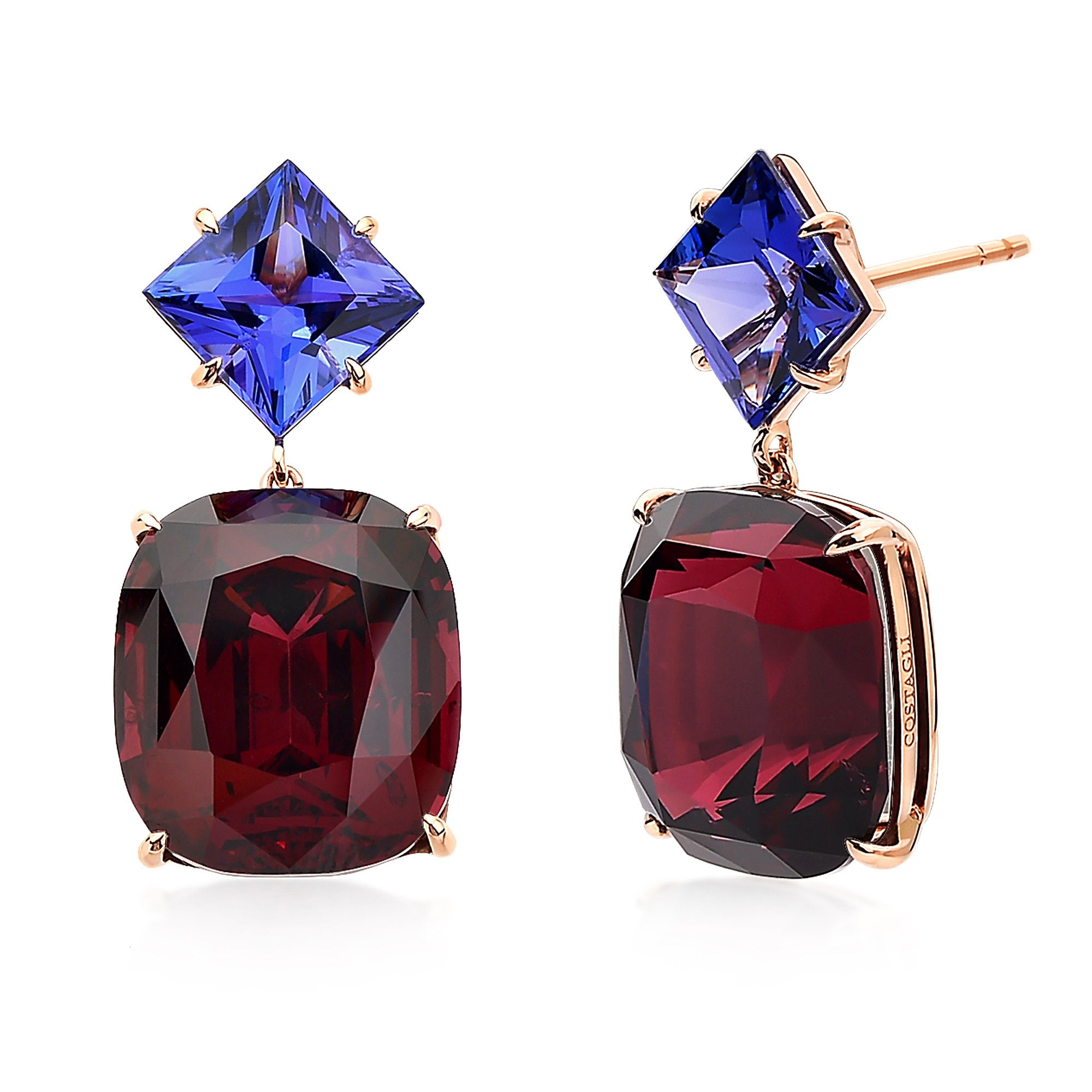 with diamond content stud earrings cut and rose tanzanite stone moon