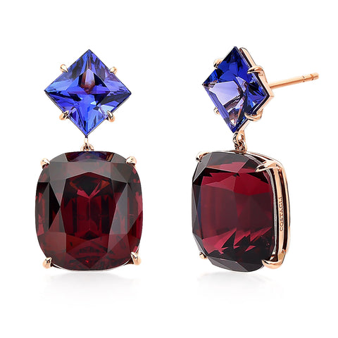 18kt Gold Rhodolite Garnet and Tanzanite Earrings - Paolo Costagli