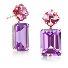 Change of Color Tourmaline and Amethyst Earrings - Paolo Costagli
