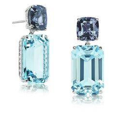 Gray Spinel and Aquamarine Earrings