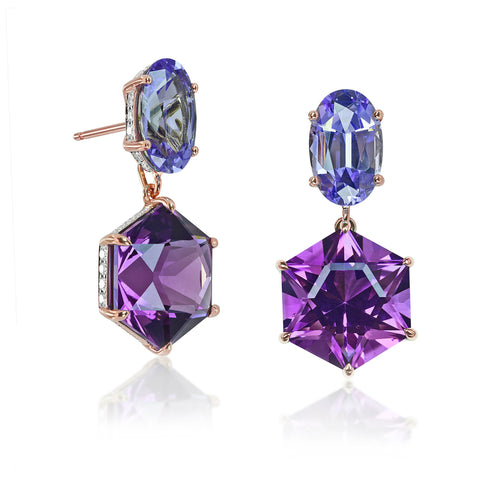 Tanzanite and Amethyst Earrings with Diamonds