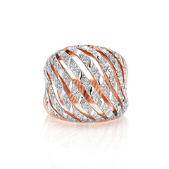 18k Rose Gold Large Bombee Ring with Diamonds - Paolo Costagli