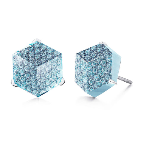 18kt white gold Blue Topaz Brillante® Valentina stud earrings - Paolo Costagli