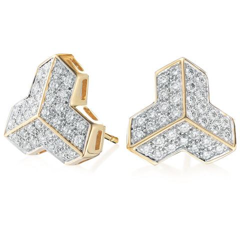 18kt Yellow Gold Brillantissimo Stud Earrings with Brilliant Diamonds,Grande - Paolo Costagli