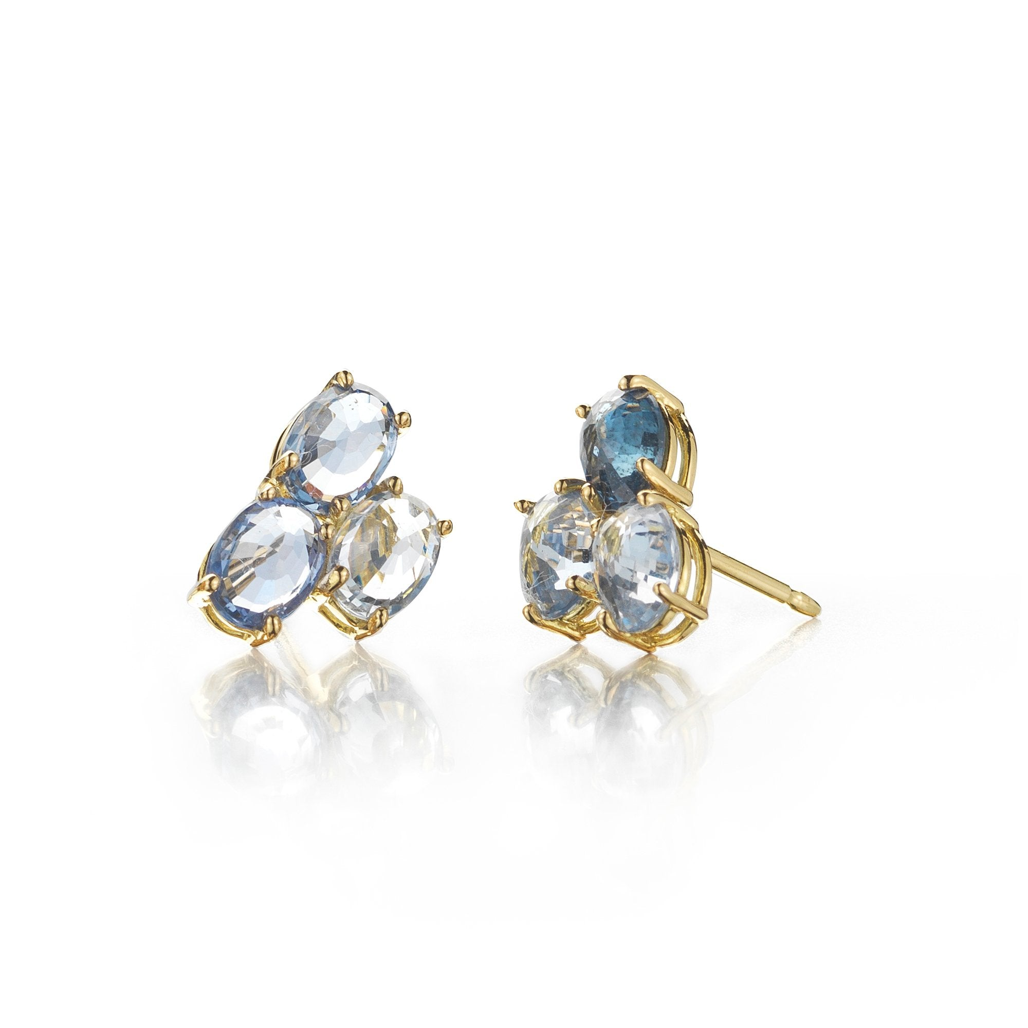 Blue Sapphire Ombre Trillion Stud Earrings - Paolo Costagli