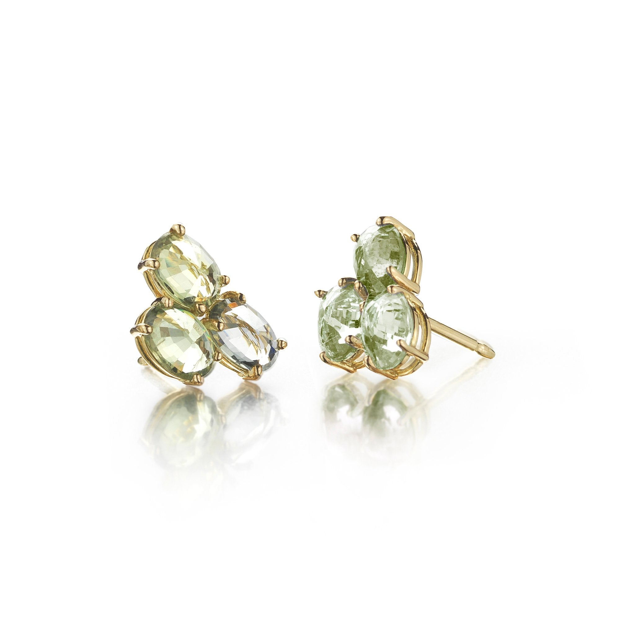 Green Sapphire 'Ombre' Trillion Stud Earrings - Paolo Costagli - 1