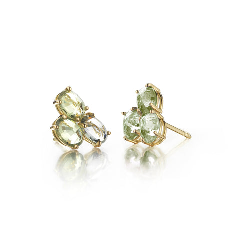 Green Sapphire Ombre Trillion Stud Earrings - Paolo Costagli