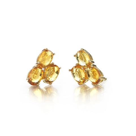 Orange Sapphire Ombre Trillion Stud Earrings - Paolo Costagli