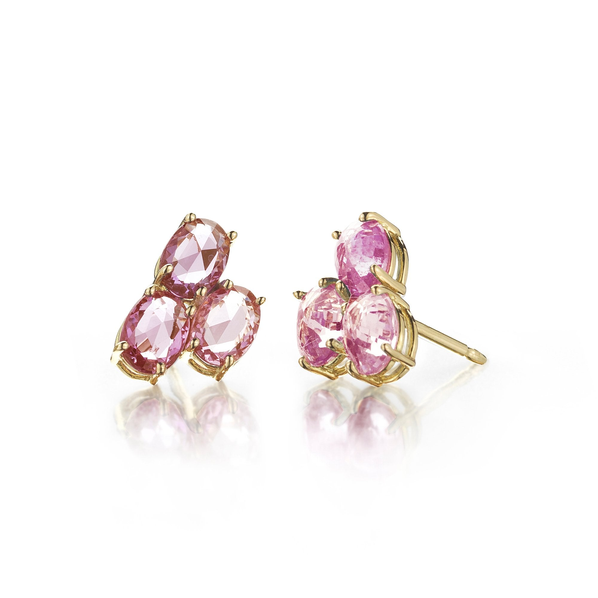 yellow champagne diamond tiny studs earrings pt diamonds tourmaline rosette gold yg products pink stud