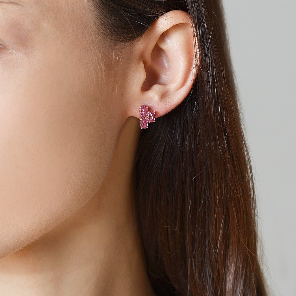 Pink Sapphire 'Ombre' Trillion Stud Earrings