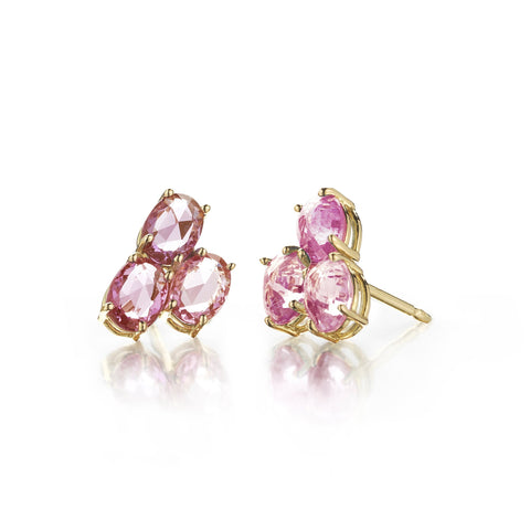 Pink Sapphire Ombre Trillion Stud Earrings - Paolo Costagli