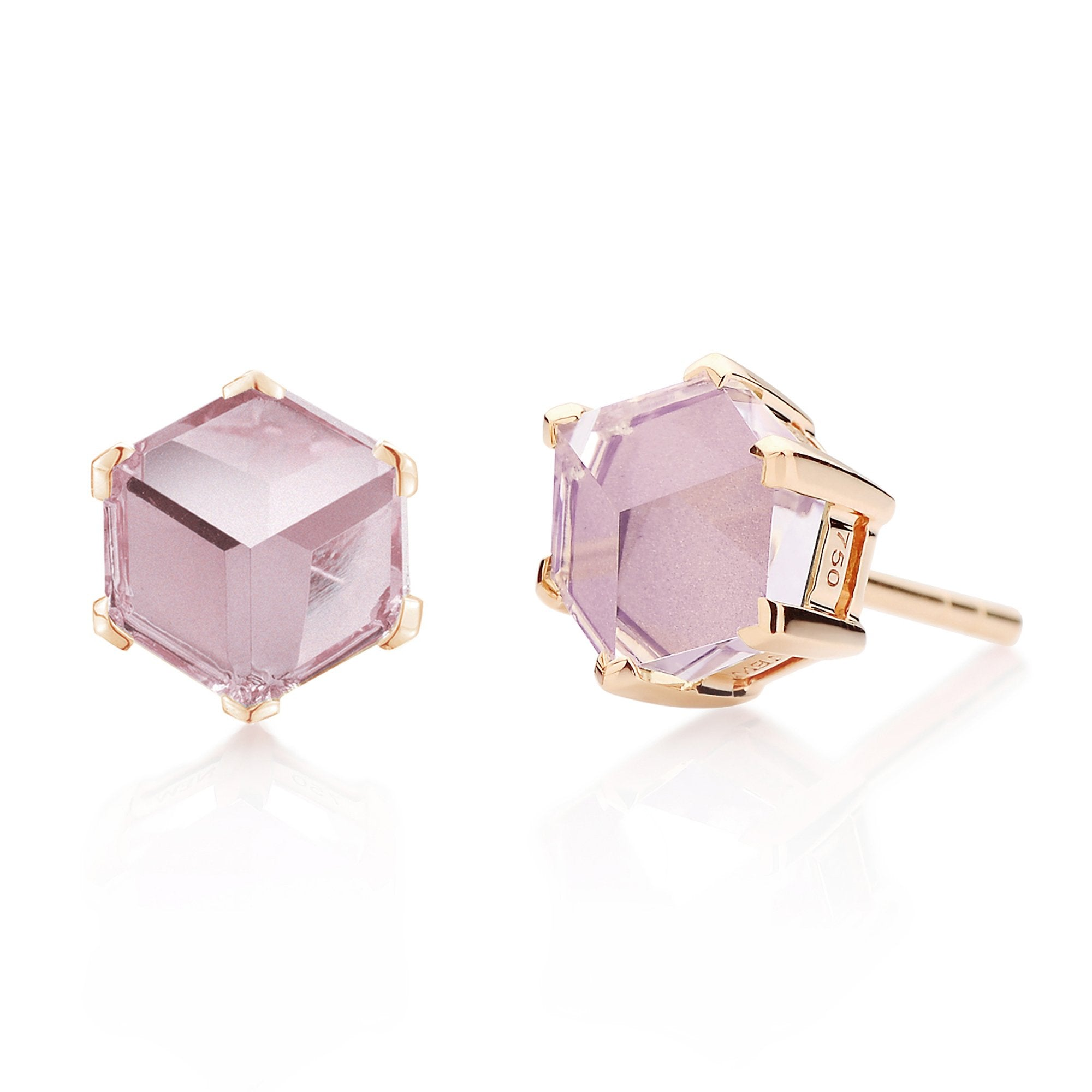 18kt Rose Gold Amethyst Brillante® Valentina Stud Earrings, dolce - Paolo Costagli