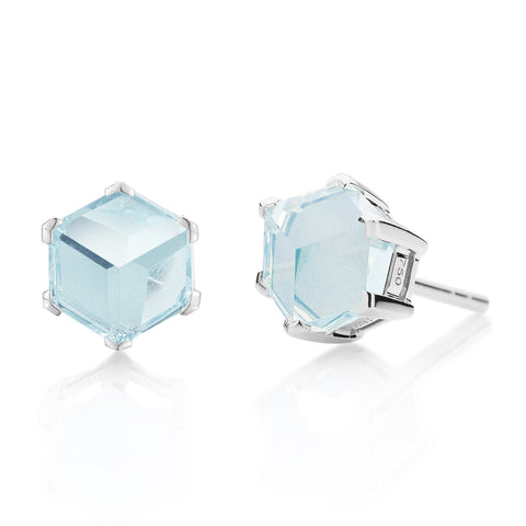 White Gold Blue Topaz Brillante® Valentina Stud Earrings, dolce