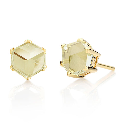 18kt Yellow Gold Green Amethyst Brillante® Valentina Stud Earrings, dolce - Paolo Costagli