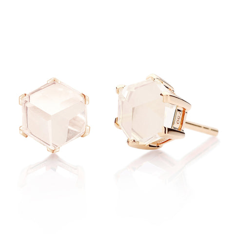 Rose Gold White Topaz Brillante® Valentina Stud Earrings, dolce