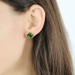 18kt Rose Gold Green Tourmaline Studs - Paolo Costagli
